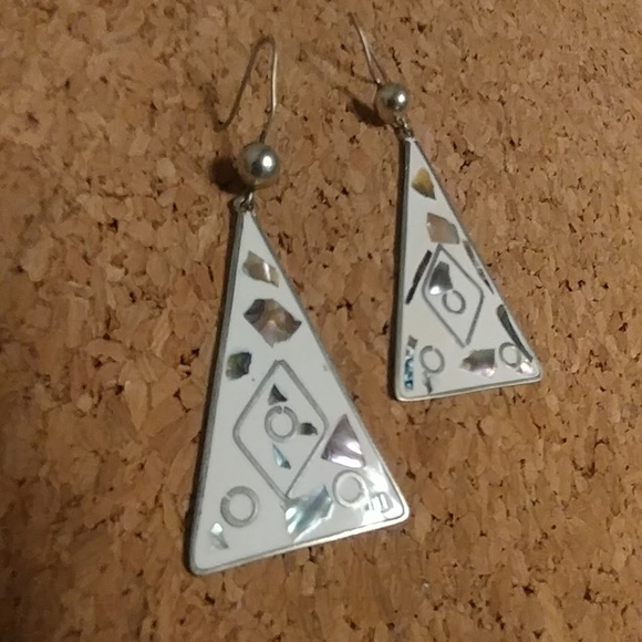 867e9bd76 Vintage Jewelry | Alpaca Silver Abalone Inlay Triangle Earrings ...